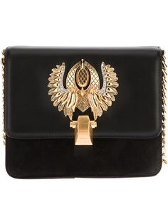 ROBERTO CAVALLI Emblem Shoulder Bag - Black sheep skin shoulder bag from Roberto Cavalli featuring a front flap with a gold-tone winged emblem, a gold-tone front clasp fastening, a red lining, an inner side zip pocket with a black brand patch and a gold-tone