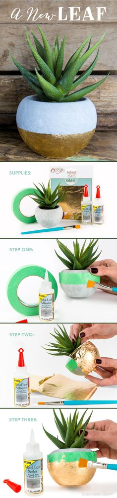 Transform a plain planter into a fun focal piece with gold metal leafing! 1) Tape off section. Apply adhesive with paint brush. 2) Place gold leaf on surface, smoothing lightly as you work. 3) Brush off excess leafing. Apply sealer and let dry. Remove tape. 4) If surface is sticky, dampen paper towel with soap and water and rub over leafing.