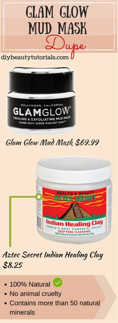 Natural Dupe of Glam Glow Mud Masks! It's safer on skin and much cheaper! I mix this clay with apple cider vinegar...the mask is great!