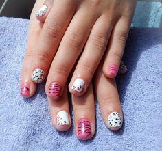 nails, short nails, white, pink