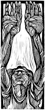 Surrender, a linocut - woodcut print by New Orleans artist Steve Prince