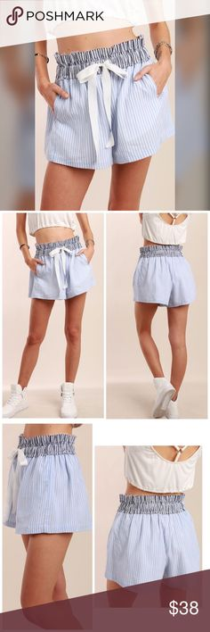 PREORDER Smocked raw edge waist band stripe shorts We love these high waisted shorts with a raw edge cut in pinstripes with pockets and elastic tie front! Shorts
