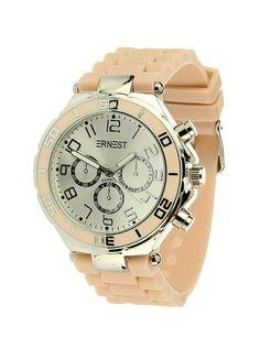 Ernest Horloge Zilver - Nude is een prachtig zilveren horloge met een nude kleurige kunststoffen band en een zilveren wijzerplaat.