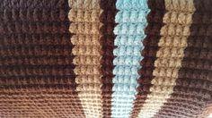 Crochet Blanket Brown Chocolate Tan and lite by SensationalYarn