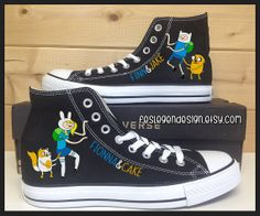 Fionna and Cake & Finn and Jake Custom Converse Cool Converse, Custom Converse, Custom Vans, Converse All Star, Converse Shoes, Fancy Shoes, Cute Shoes, Me Too Shoes, Awesome Shoes