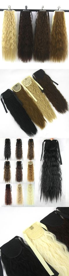 Soowee 10 Colors Kinky Curly Ponytails High Temperature Fiber Pony Tail Hairpiece Synthetic Hair Extensions for Black Women