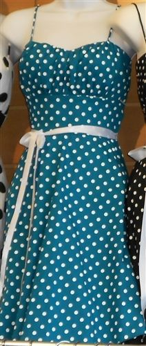 "$44 Pin Up Dresses: Picnic Darlin' Polka Dot Pin Up Dress with light petticoat trim. 90% Cotton 10% Spandex Length: 35"". Made in USA."