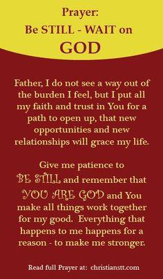 Prayer: Be Still - Wait on God