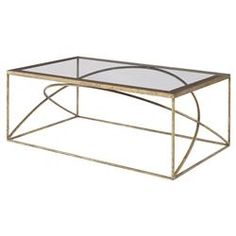 Halle Modern Classic Arch Champagne Gold Coffee Table | Kathy Kuo Home
