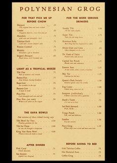 1967 Cocktail Menu Inside Page Spread Cocktail Menu