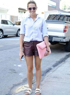 Pair Birkenstocks with a pair of dressy shorts in leather, lace, or crochet, for a put together weekend outfit. A collared shirt will pull the whole thing together.