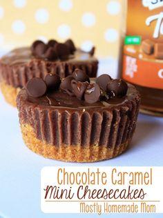 Mostly Homemade Mom: Chocolate Caramel Mini Cheesecakes