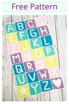 ) Pattern This crochet Alphabet Blanket Crochet C2c, Crochet Square Blanket, Baby Blanket Crochet, Crochet Baby, Crochet Afghans, Crochet Numbers, Crochet Alphabet, Simply Crochet, Crochet Stitches Patterns