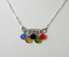 Olympic Rings Necklace - Centered Charm - Sports and Games - Summer Olympics Jewelry - London 2012 -  Swarovski Crystals. $12.00, via Etsy.