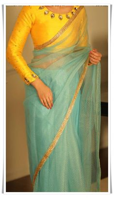 Sea / mint green tissue/organza/tulle saree with sunshine yellow blouse Indian Saree CLICK VISIT link to readClassy readymade sari blouses stretchable Want to know more about --yellow and turquoise colour combo Silk Saree Blouse Designs, Fancy Blouse Designs, Saree Blouse Patterns, Designer Blouse Patterns, Blouse Neck Designs, Blouse Styles, Saree Styles, Stylish Blouse Design, Jute
