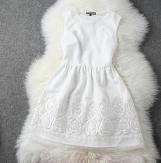 Rehearsal dinner? Organza embroidered white princess dress