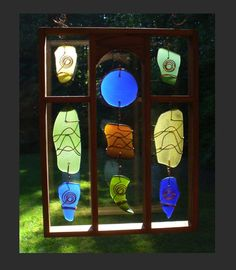 Sun Catcher, Stained Glass, Sea Glass, Beach Glass, Copper