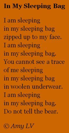 I had my fill of outdoor camping while in college. But a cute poem is a cute poem! Love this. : )