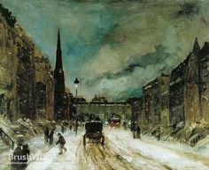 Street Scene With Snow by Robert Henri - Oil Painting Reproduction - BrushWiz.com