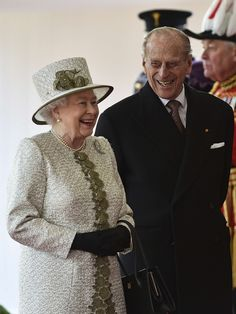 Queen Elizabeth II and Prince Philip, Duke of Edinburgh laugh during a ceremonial welcome for the State Visit of The President of The United Mexican, Senor Enrique Pena Nieto and Senora Rivera at Horse Guards Parade on March 3, 2015 in London, England.  The Ceremony marks the start of a three day visit to Britain.