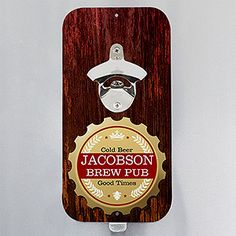 Personalize your home with this decorative Premium Brew Personalized Magnetic Bottle Opener. Find the best personalized entertaining and home gifts at PersonalizationMall.com