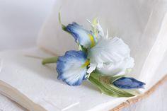 Handmade silk flower brooch Iris brooch by FloribundaSilkFlower, $122.32
