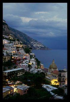 Positano and Mediterranean  at dusk. Amalfi Coast, Campania, Italy