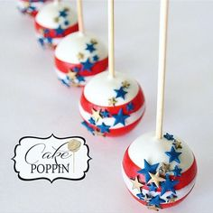 Red & White Stripe Cake Pops with Blue and Gold Stars