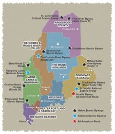 Shows a map of Maine featuring cities, towns and major