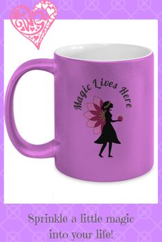 Pretty Magic Lives Here Metallic Pink Mug A Little Life, Metallic Pink, Sprinkles, Magic, Halloween, Tableware, Pretty, Gifts, Dinnerware