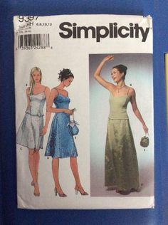 New Vintage Simplicity Pattern 9397Size 6,8,10,12 Misses Skirt Dress Top Purse  | eBay