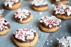 Vegan Soft Sugar Cookies with Chocolate Ganache and Candy Canes | Recipe at HungryCurious.com