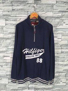 67e092d295a TOMMY HILFIGER Jacket Large Vintage 90s Hilfiger Spell Out Hip Hop Tommy  Jeans Blue Half Zipper Swea