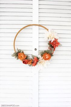 Fall Embroidery Hoop Wreathcountryliving