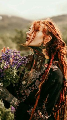 9 of Pentacles Photography Themes, Fantasy Photography, Red Hair Inspiration, Character Inspiration, Writing Inspiration, Estilo Hippie Chic, Beautiful Dreadlocks, Celtic Warriors, Boho Chic