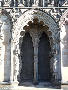 Arched ornate doorway at Lichfield Cathedral, Lichfield, Staffordshire, England