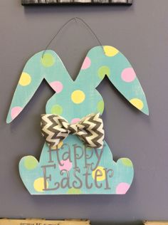 Easter Bunny Door Hanger by CrossMyArtStudios on Etsy, $55.00