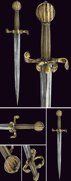 Rare gilded Left-hand Dagger Dated: third quarter of the century Culture: Italian Place of Origin: North Italy Measurements: length Swords And Daggers, Knives And Swords, Ancient Armor, Dagger Knife, Medieval Weapons, Arm Armor, Fantasy Weapons, Cold Steel, Katana