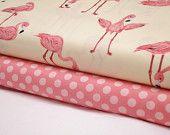 Flamingos Fabric on Banana - Ta Dot in Petal - 2 Yard Bundle - Michael Miller