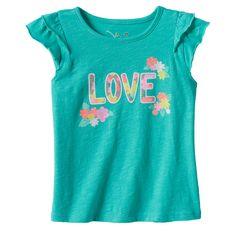Toddler Girl Jumping Beans® Flutter Sleeve Slubbed Graphic Tee