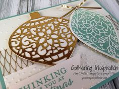 handmade card, christmas card, greeting card, ornaments, gold & green, vellum, embossed, gold ribbon, DIY, demonstrator, paper crafting, hobby, easy, quick, rubber, stamps, stamping, craft, paper, *Stampin' Up, by Amy Frillici, Gathering Inkspiration, order products online at amysuzanne.stampinup.net