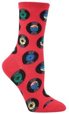 Vinyl Records Crazy Novelty Socks for Women in raspberry