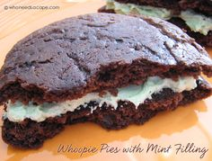 Whoopie Pies with Mint Filling a fabulous pairing of mint & chocolate, YUM!