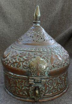 Ornate old middle eastern copper betel nut / spice box & set