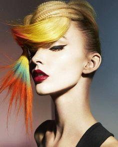 2014 crimped plait multicoloured ends - Hairstyle Gallery Avant Garde Hair, Multicolored Hair, Foto Fashion, High Fashion, Hair Photography, Editorial Hair, Coloured Hair, Coloured Braids, Fantasy Hair