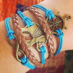 NEW Blue and Brown Elephant Anchor Infinity by ForTheWristAndSoul, $10.99 #bracelet #etsy