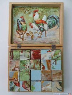 Animal cube puzzle;  Cuburi cu animale