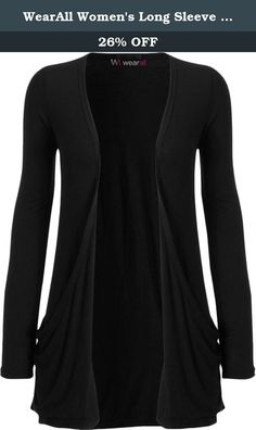 WearAll Women's Long Sleeve Pocket Cardigan - BLK - 8-10. This lovely open cardigan, featuring two swing style pockets, is the perfect edition to your wardrobe. The soft fabric makes it comfortable to wear throughout the day, and the style is versatile enough to take you through to the evening - dressed up with a sparkly top underneath, skinny trousers and a pair of heels. Note: Despite every effort to accurately depict each product's color, actual colors may vary due to monitor and/or…