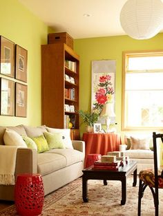 Perfect Living Room Color Scheme: Complementary Update (citron Green And Brick Red)    Casual And Vibrant. Decorating Small Spaces