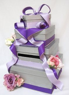 Bling Wedding Card Box with Roses by Card Box Diva